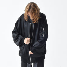 Load image into Gallery viewer, Black Silk Bomber Jacket