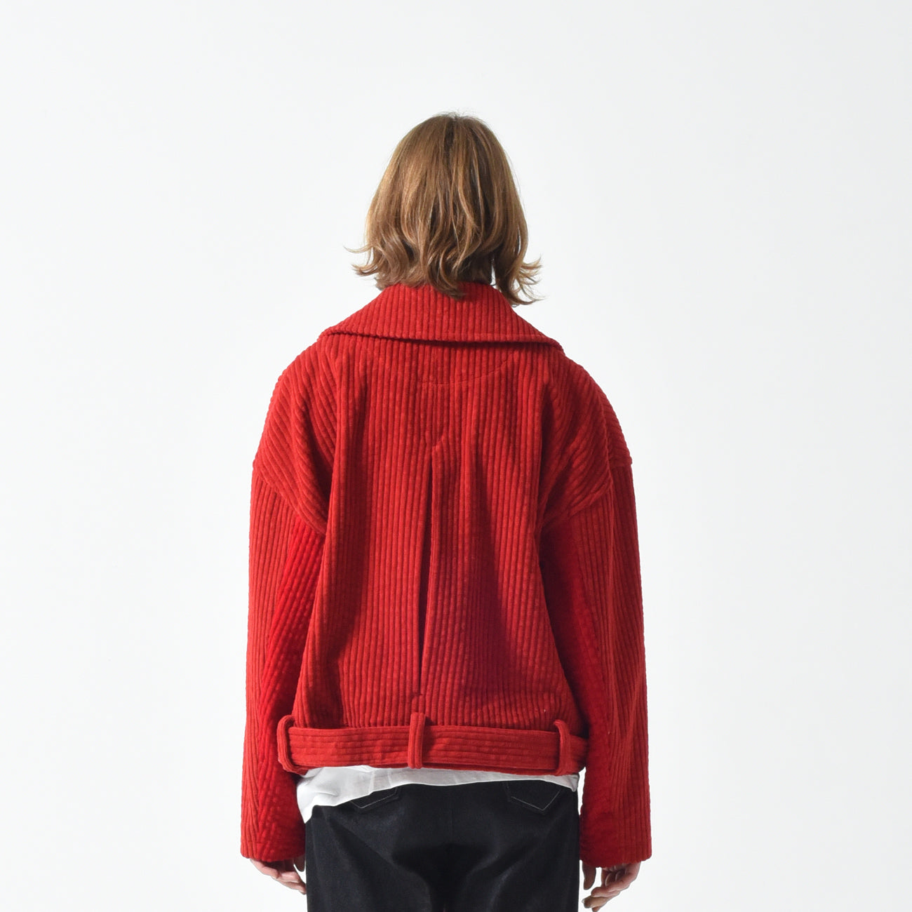 🔖 Jumbo Corduroy Belted Jacket - Red 50% OFF