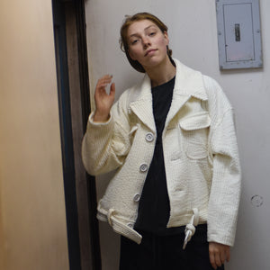 Jumbo Corduroy Belted Jacket - Cream