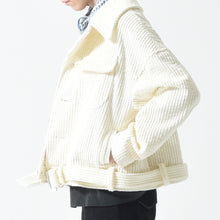 Load image into Gallery viewer, Jumbo Corduroy Belted Jacket - Cream