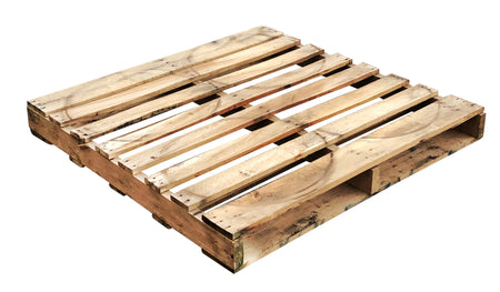 "Recycled Wood Pallet 48"" x 48"" x 5 1/2"" - An economical way to protect, store or move products. Tough, durable wood is stackable and reusable. Fork Access: 2-way Entry. Weight Capacity: 3,000 Ibs. Deck-board Specifications: 8 boards on top, 4-5 boards on bottom and 3 stringer."