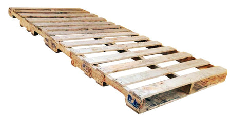 "96"" x 40"" Recycled Wood Pallets - Durable wood, reusable, and recyclable. Fork Access: 2-way entry. 14 boards on top, 10 boards on bottom, and 3 stringers."
