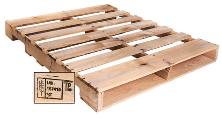 "48"" X 40"" Heat Treated Wood Pallet - An Economical way to move, store or protect products. Tough, durable wood is stackable and reusable. Heat-treated pallets meets ISPM 15 Export Specifications. Fork Access: 4-Way Entry. Weight Capacity: 2,500 Ibs. Capacity."