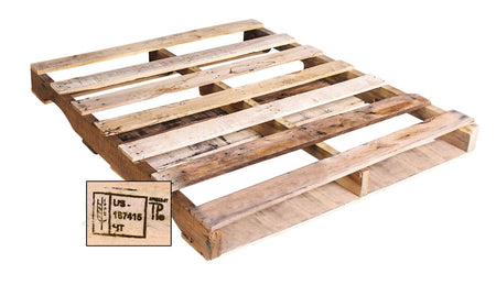 "48"" X 40"" - Recycled Heat Treated Wood Pallet Grade A  Economical way to move, store or protect products. Tough, durable wood is stackable and reusable. Heat-treated pallets meets ISPM 15 Export Specifications. 4-Way Fork Access. 2500 Ibs. Weight Capacity."