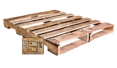 "48"" X 40"" Recycled Heat Treated Wood Pallet Grade - An Economical way to move, store or protect products. Tough, durable wood is stackable and reusable. Heat-treated pallets meets ISPM 15 Export Specifications. 4-Way Fork Access. 2500 Ibs. Weight Capacity."