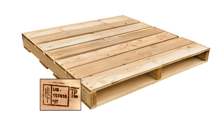 "42"" x 42"" Recycled Heat Treated Wood Pallet - Has a 2-Way Fork Access and Weight Capacity 2,500. Heat-treated pallets meets ISPM 15 Export Specifications. Tough, durable wood is stackable and reusable…"