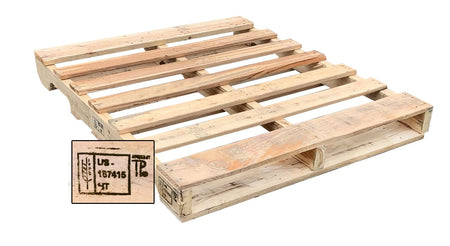 "48"" x 40"" Recycled Heat Treated Wood Pallet #1 - An Economical way to move, store or protect products. Heat-treated pallets meets ISPM 15 Export Specifications. 4-Way Fork Access. 2,500 Ibs Weight Capacity. Tough, durable wood is stackable and reusable."