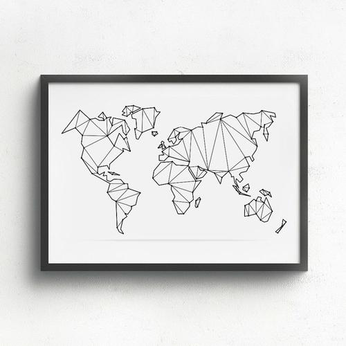 Abstract World Map Canvas Zenq Home