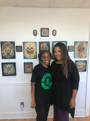Kim Gordon and Long Beach City Council President Anissa Moore at Artwhirl Gallery in Long Beach, NY