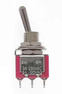 Mini Toggle Switch-SPDT-5 Amp-120 V-1/4 in Dia [8 pcs]