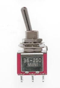 Mini Toggle Switch-DPDT-5 Amp-120 V-1/4 in Dia [4 pcs]