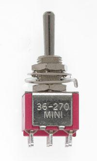 Mini Toggle -Ctr Off-Mom Spring -DPDT-5amp-120v-1/4 in Dia [2]