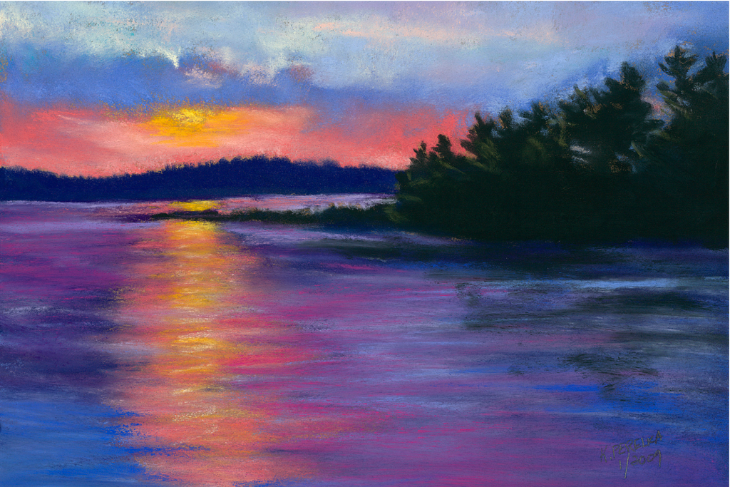Beautiful pastel greeting card of a seaside Maine landscape | Salt Air Supply