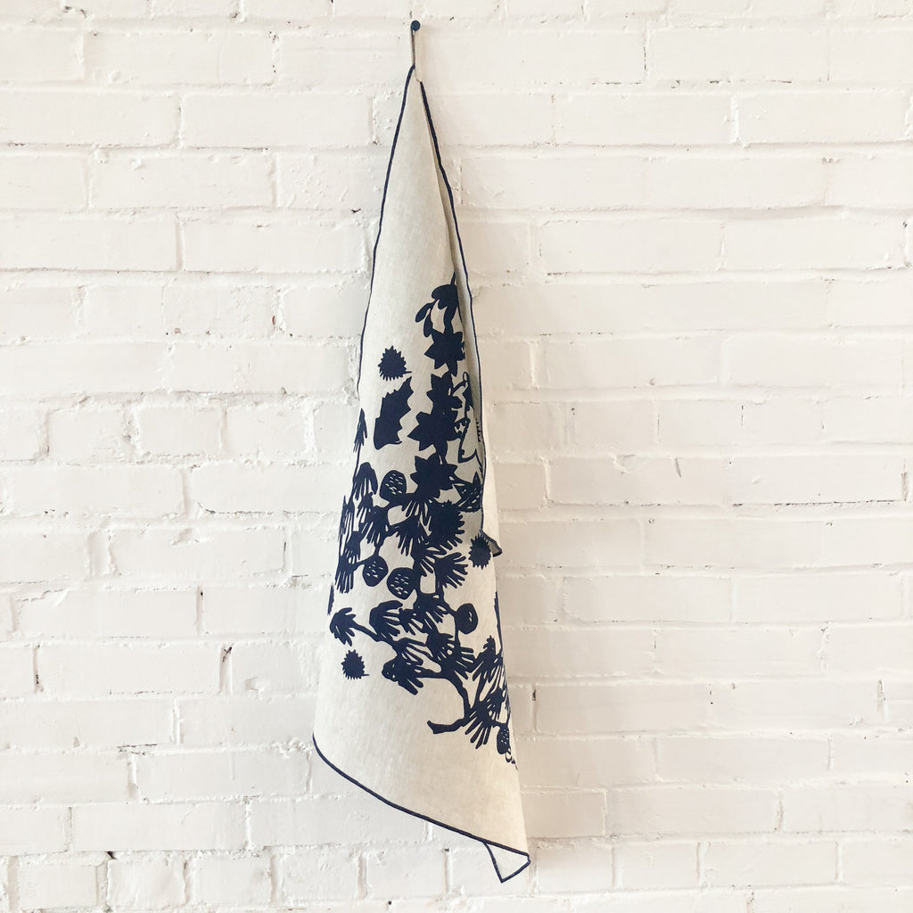 Linen tea towel with navy pattern | Salt Air Supply