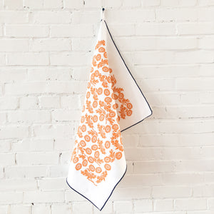 Tangerine Wallflower Linen Tea Towel