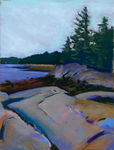 Pastel Maine rocky coast landscape greeting card | Salt Air Supply