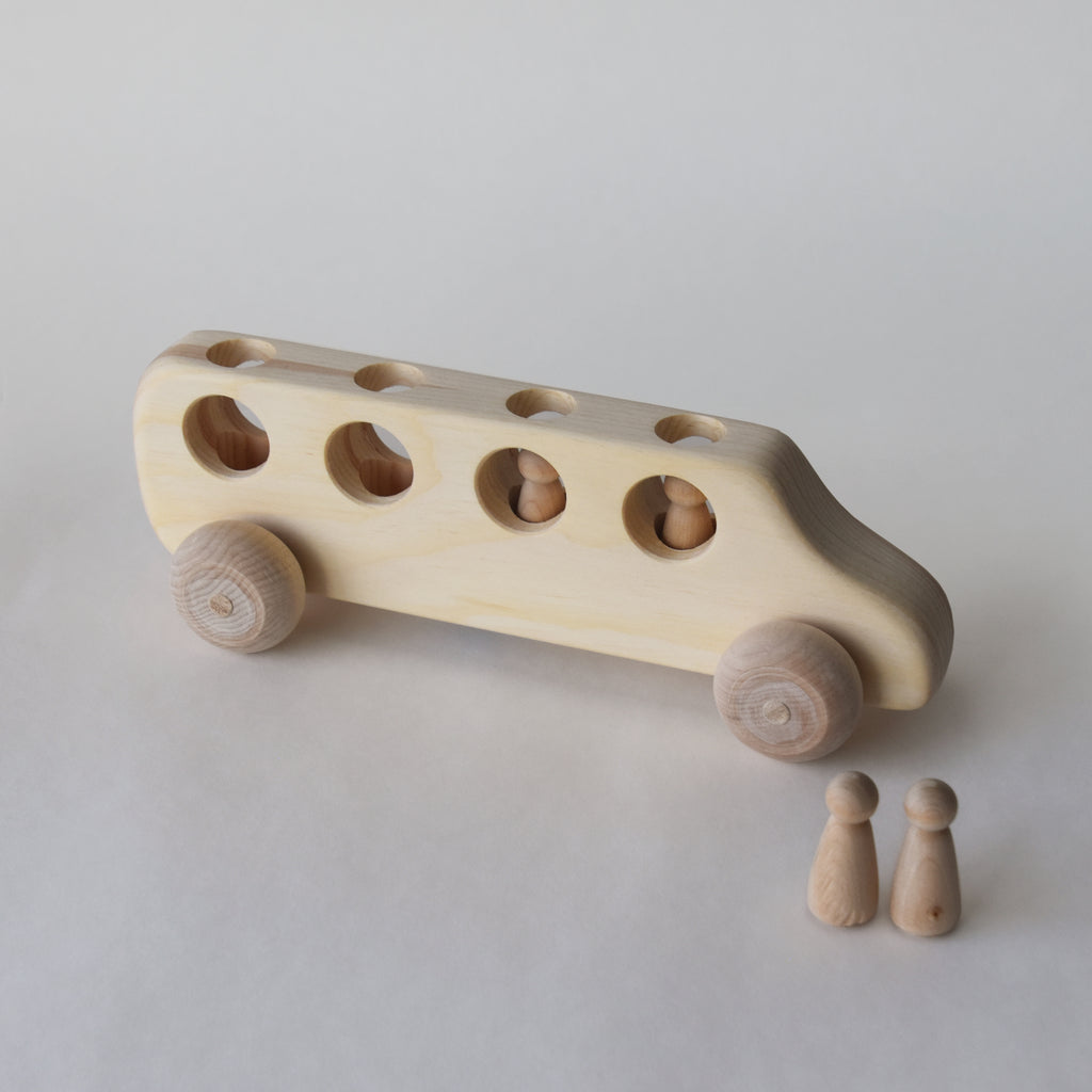 Wooden school bus toy with removable peg people | Salt Air Supply