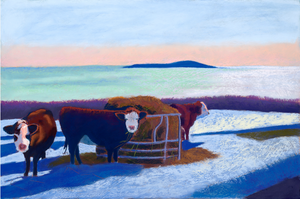 Snowy Cows Greeting Card
