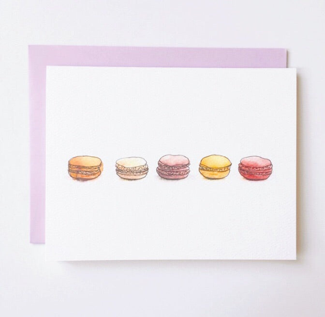 Adorable greeting card featuring five watercolor macaroons and a matching pink envelope | Salt Air Supply