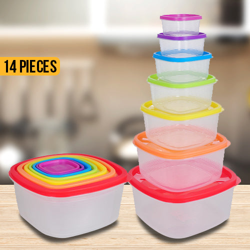 14 Piece Set Square Food Storage Set