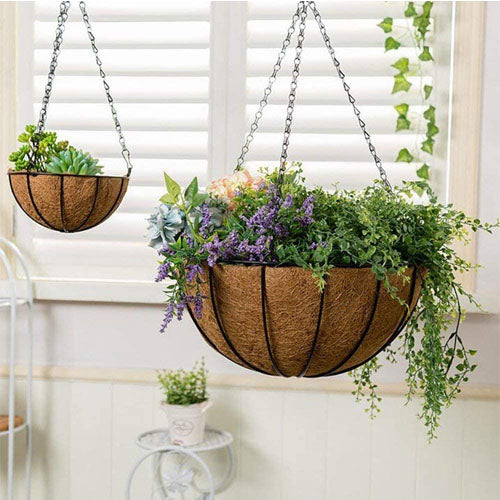 2 Pack Metal Hanging Planter Basket With Coco Liner