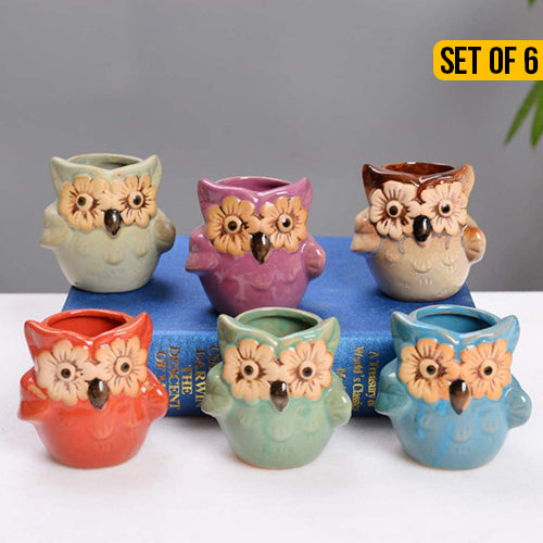 Ceramic Flower Owl Pots Set Of 6