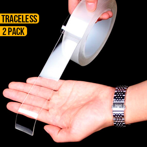 2 Pack Double Sided Clear Traceless Nano Tape