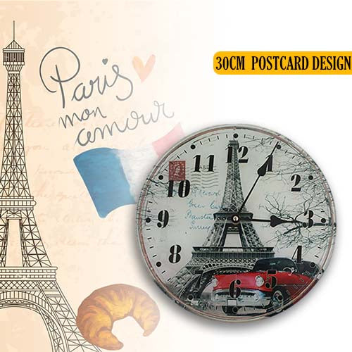 Eiffel Tower Glass Wall Clock