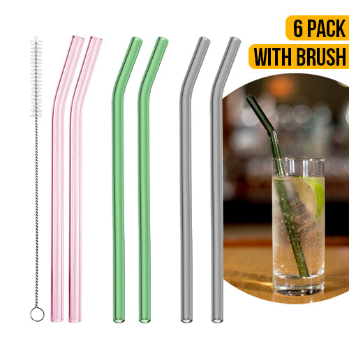 6 Pack Drinking Glass Straws
