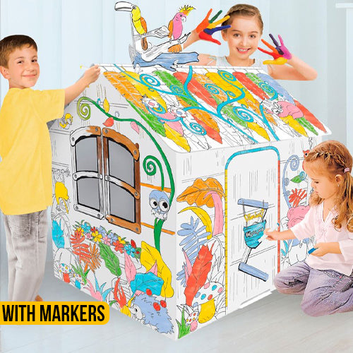 Kids Indoor Cardboard Playhouse Colouring Kit