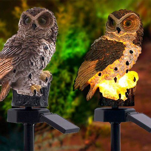 LED Brown Owl Shaped Outdoor Light