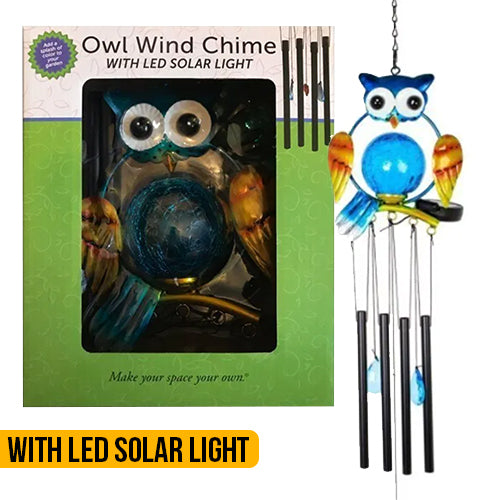 Solar Light Owl Windchime