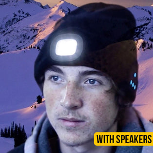 Tech Beanie With Built In Headlamp & Bluetooth Head Phones