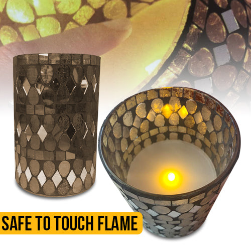 Glass LED Mosaic Candle