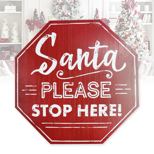 Wooden Santa Please Stop Here Sign
