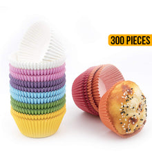 Load image into Gallery viewer, 300 Pack Colourful Paper Cupcake Liners