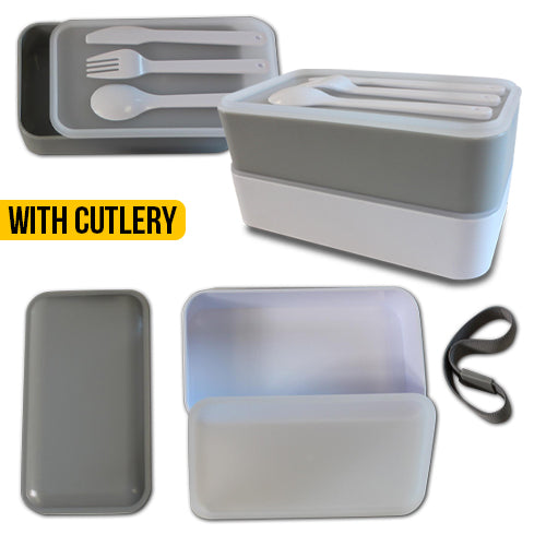 2 Tier Bento Box - Grey