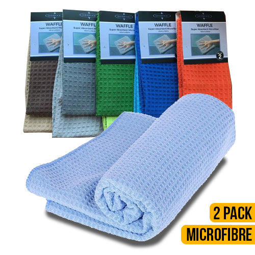 Microfibre Waffle Cleaning Towel 2 Pack