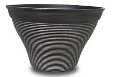 Plastic Round Ribbed Planter 35.6cm - Charcoal