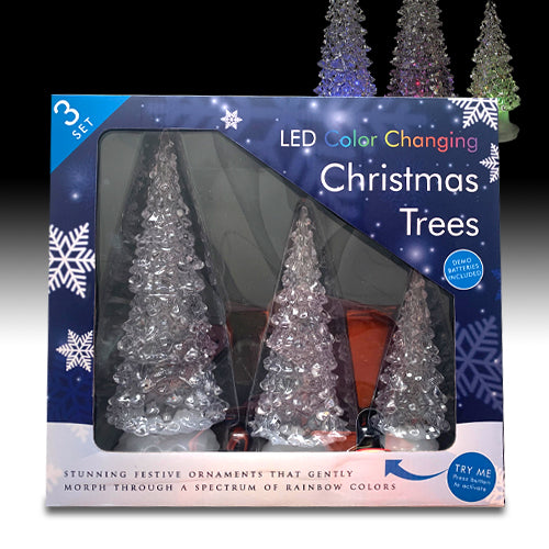 LED Colour Changing Christmas Trees Set Of 3