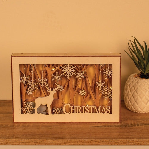 Led Kraft Wood Box Reindeer