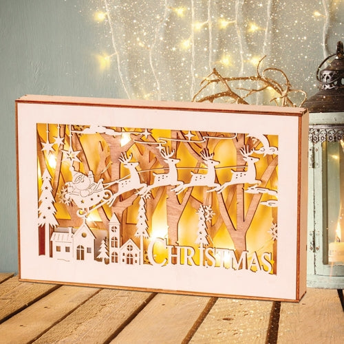 Led Kraft Wood Box Santa On Sleigh