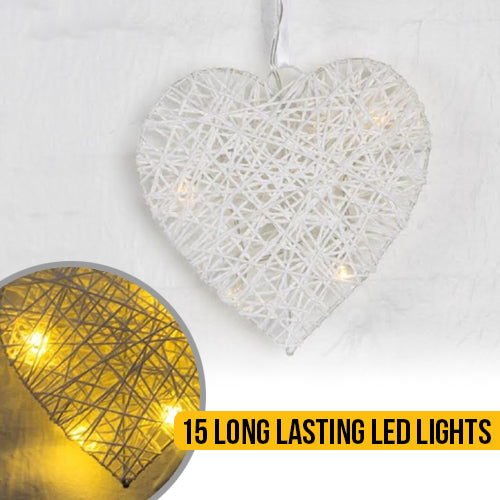 White LED Rattan Heart