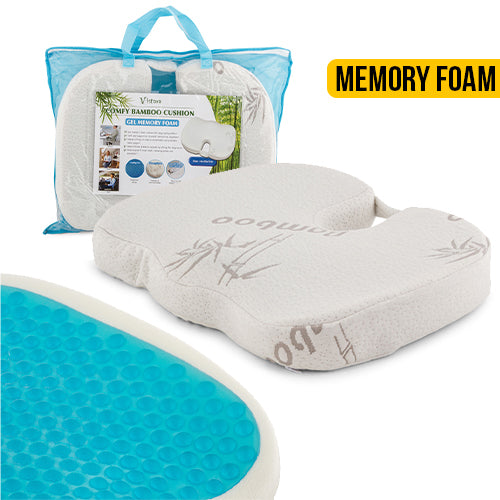 Vistara Gel Memory Foam Bamboo Cushion with Removable Cover