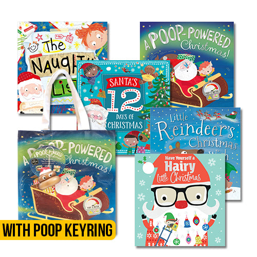 Christmas Poo Picture Books Set of 5 with Poop Key ring