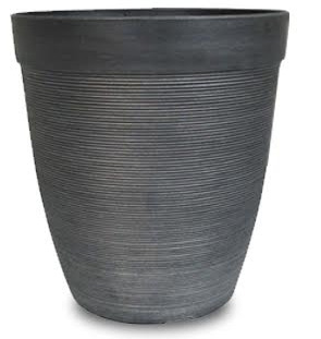 Plastic Round Ribbed Planter 30.5cm - Charcoal