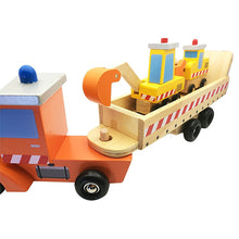Load image into Gallery viewer, Wooden Construction Trailer Toy Set