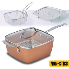 "Load image into Gallery viewer, 9.5"" Square Copper Cooking Pan"