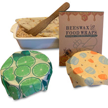Load image into Gallery viewer, Beeswax Reusable Food Storage Wraps Set of 3
