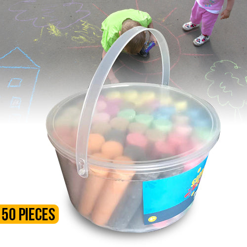 50 Jumbo Sidewalk Chalk In A Bucket